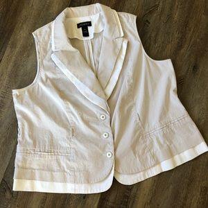 Lane Bryant cream and tan vest